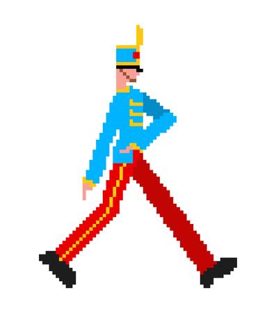 Soldier marching pixel art. guardsman 8bit. guard enlisted man 8 bit Vettoriali