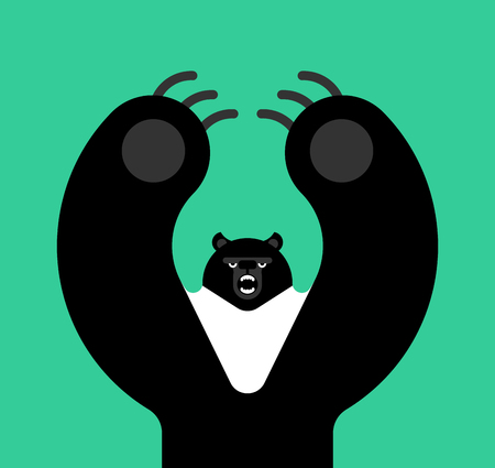 Himalayan bear black. Beast evil isolated cartoon style. big Wild predator attacks Ilustração