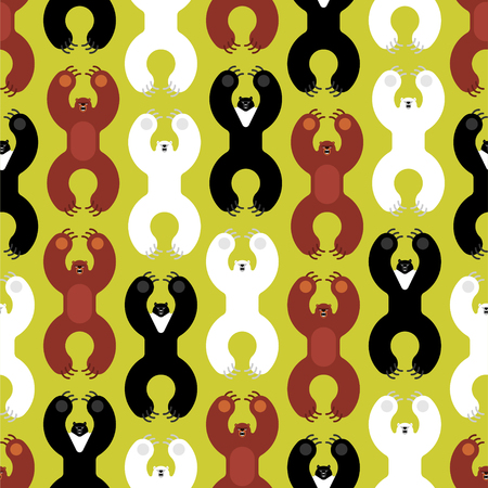 Breeds bears pattern seamless. Grizzly and himalayan bear and polar bears. evil isolated cartoon style. Wild predator attacks