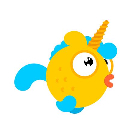 Goldfish con cuerno de unicornio aislado. Vector de animales de mar mágico de peces de oro. personaje oceánico Ilustración de vector