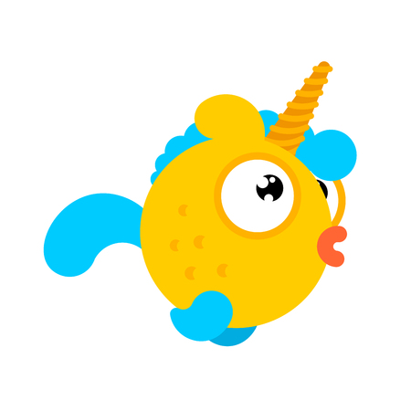 Goldfish with unicorn horn isolated. Gold Fish Magic Sea animal vector. ocean character