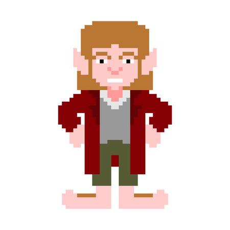 Hobbit pixel art little man isolated. magic homunculus with big legs 8 bit