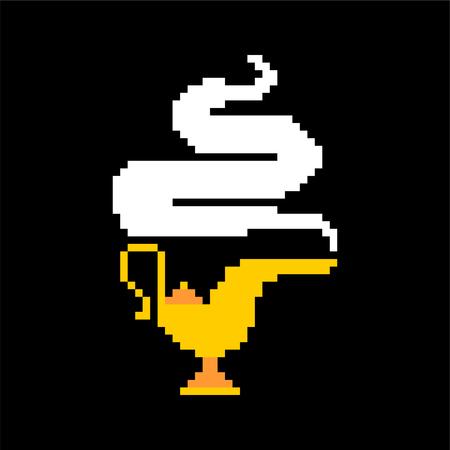 Magic gold lamp pixel art. genie golden lamp 8bit. Eastern tale 8 bit