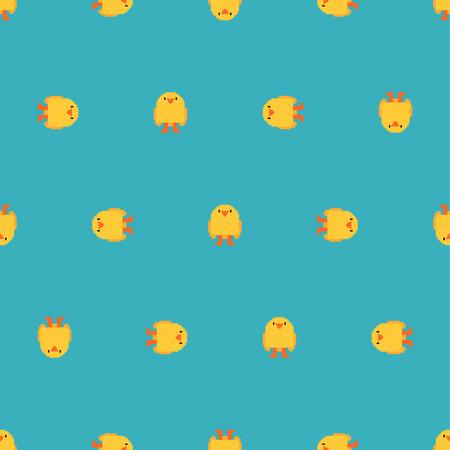 Chick pixel art pattern seamless. 8 bit Little Chicken. 8bit background.