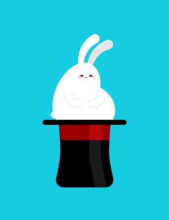 Fat rabbit in magic hat. Thick magical white hare and magician hat