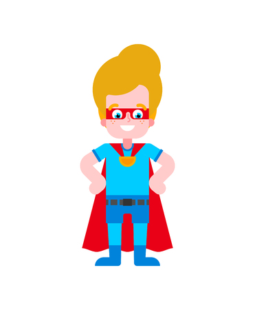 Superhero boy. Super kid in Cloak and mask. Superpowers guy. Cartoon style vector