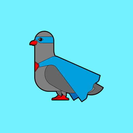 Dove superhero. Super pigeon In raincoat and mask. Superpowers Bird. Cartoon style vector