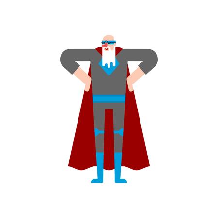 Grandfather superhero. Super Grandpa. Superpowers old man. Cartoon style vector