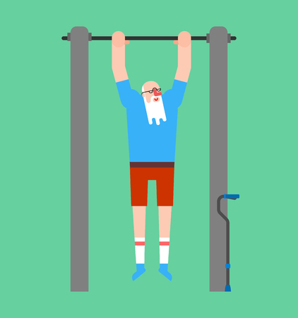 Grandfather on horizontal bar. Pull up granddad street workout. Old man Sport. Fitness for seniors