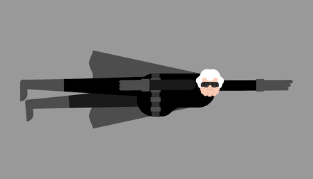 Grandmother superhero fly. Super Grandma. Superpowers old woman. Cartoon style vector Vettoriali