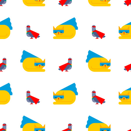 Superhero pigeon and cat pattern seamless. Super dove in Cloak and mask. Superpowers pet. Cartoon style background vector