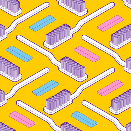 Toothbrush isometric pattern seamless. Vector background cartoon style