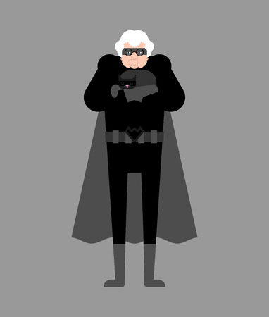 Grandmother superhero isolated. Super Grandma. Superpowers old woman. Cartoon style vector 矢量图像