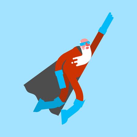 Grandfather superhero. Super Grandpa fly. Superpowers old man. Cartoon style vector Illustration