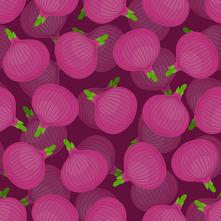Red Onion pattern seamless. Onions background. vegetable texture. Cartoon style vector ornament