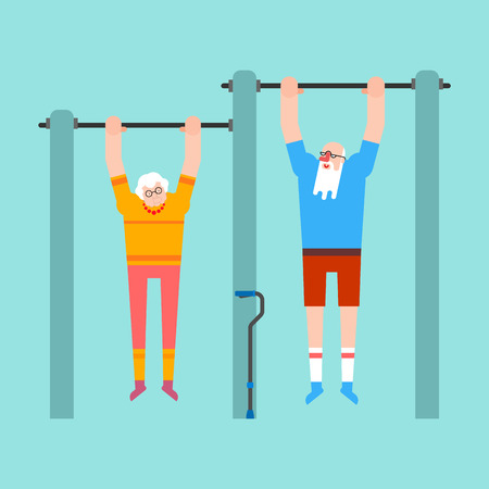 Grandparents on horizontal bar. Pull up Grandmother and grandfather street workout. Old man Sport. Fitness for seniors