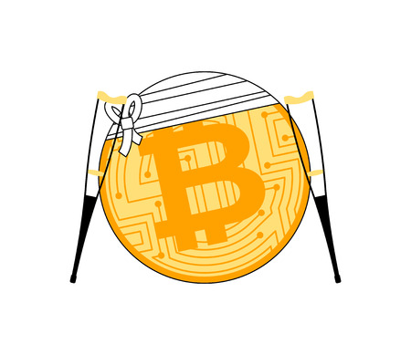 bitcoin and crutch. Cryptocurrency bandaged. Concept BTC market decline