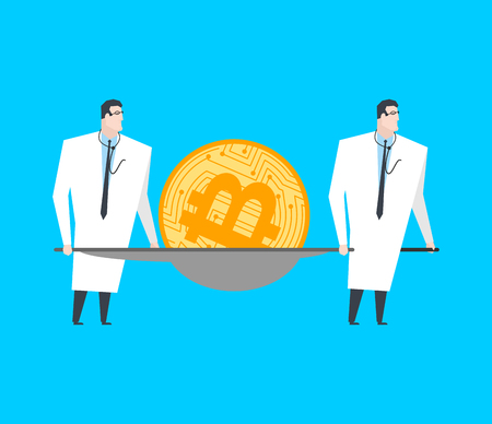 Bitcona on stretchers. Cryptocurrency drop down. Concept btk market decline