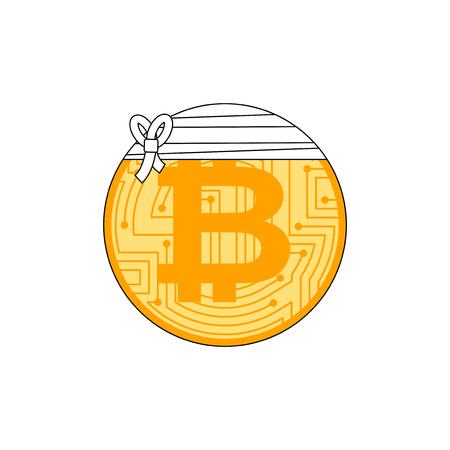 Sick bitcoin. Cryptocurrency bandaged. Concept BTC market decline Illustration