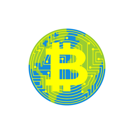 Bitcoin is future of earth. Digital world. BTC Absorption of planet. Cryptocurrency price increase. Business concept in crypto exchange