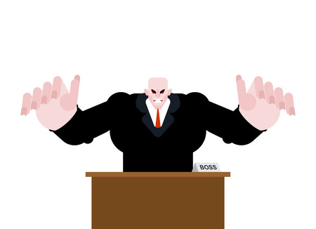 Angry boss at table. business manager anger man. Businessman table work