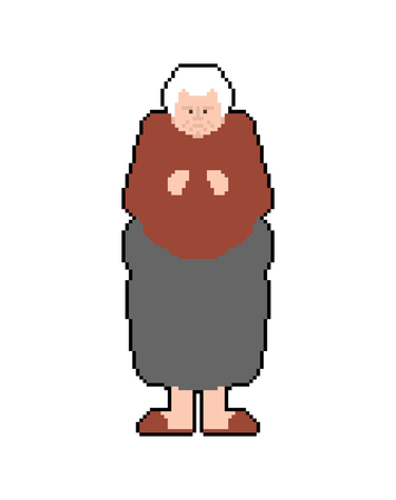 Grandmother pixel art. Granny pixelated. Old lady Old game graphics. 8 bit Vector illustration