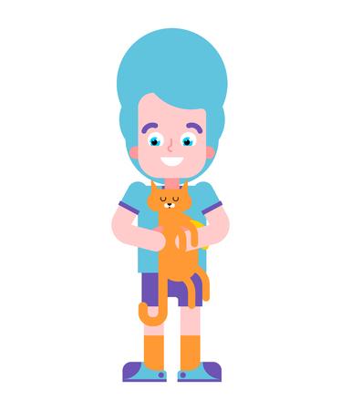 Boy and cat. youngster and pet. Vector illustration Ilustração