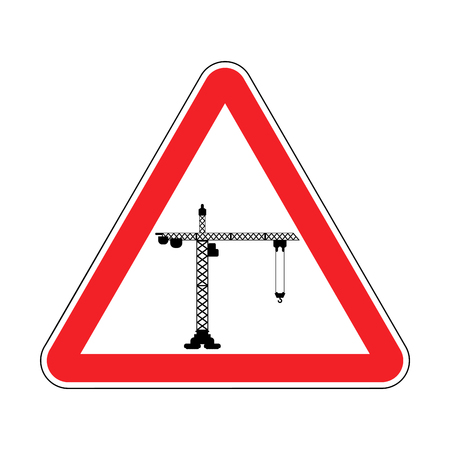 Attention Construction site. Caution development. Red road triangle sign Lifting crane