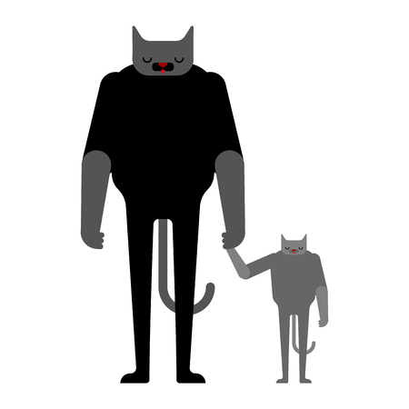 Cat and kitten. Father and son. Dad pet and child. Fathers day Cartoon Vector Illustration.