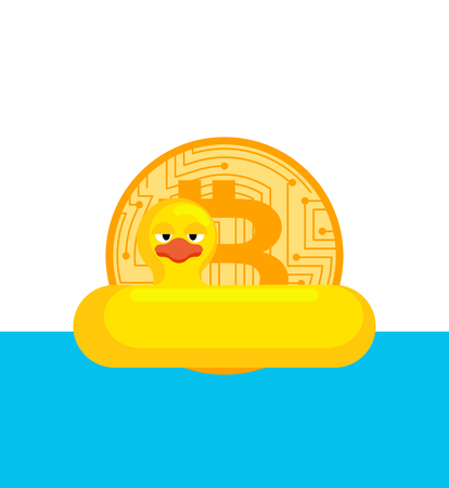 Bitcoin in Lifebuoy. Cryptocurrency afloat. Business concept in crypto exchange