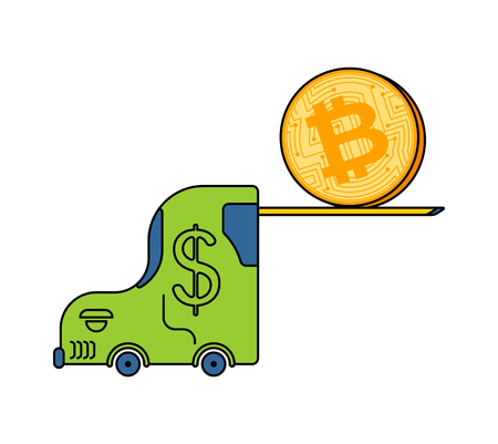 Bitcoin price rising. BTC Fork loader uplift. Cryptocurrency price increase. Business concept in crypto exchange Ilustrace