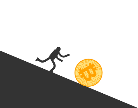 Bitcoin price fall. Businessman running for coin btc. Cryptocurrency price Downgrade. Business concept in crypto exchange