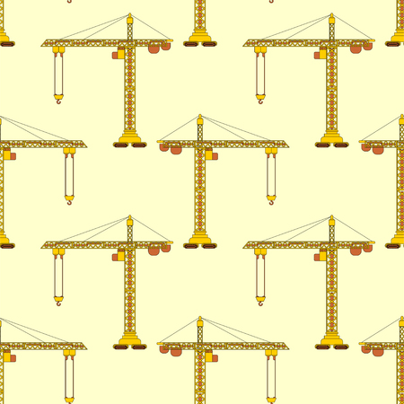 Lifting crane pattern seamless. Construction industrial background. Children cloth texture.