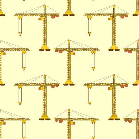 Lifting crane pattern seamless. Construction industrial background. Children cloth texture.