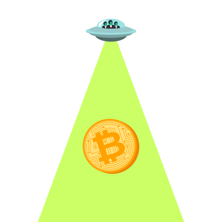 Bitcoin price rising UFO up. Aliens are raising Electronic money. Cryptocurrency price increase. Business concept in crypto exchange Çizim