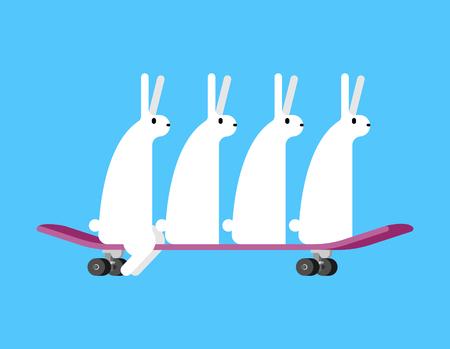Hares on skateboard. Rabbits on board. Group bunnys Skateboarder