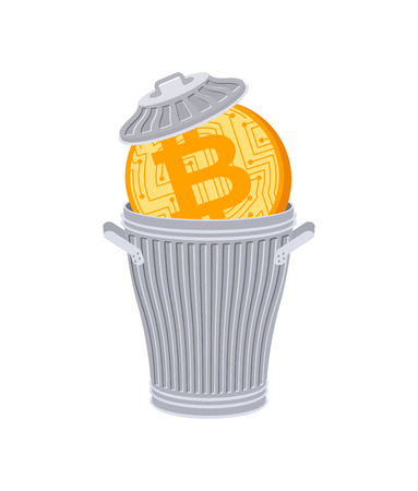 Bitcoin in Trash can. Coin price fall. Cryptocurrency price Downgrade. Business concept in crypto exchange  イラスト・ベクター素材