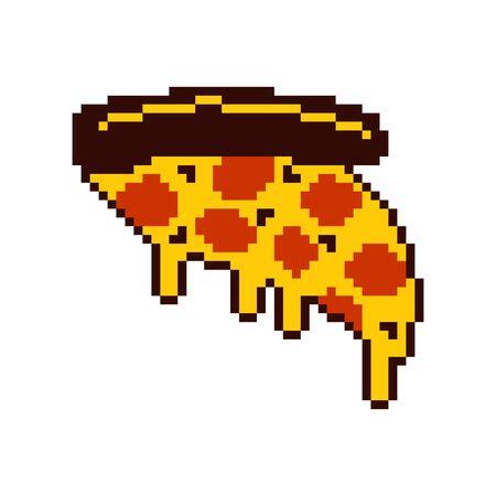 Slice of pizza pixel art. Cartoon fast food 8 bit