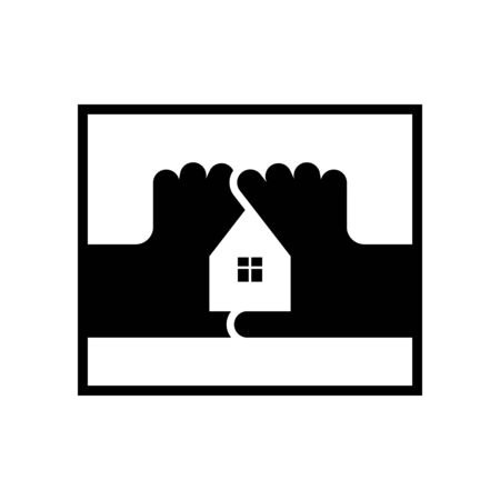 House of the fingers logo. Housebuilding symbol. Vector icon