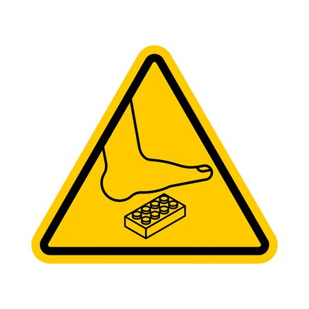 Attention Plastic construction Detail. Warning yellow road sign. Step onto the Constructor. Caution Forbidding Detail Plastic Designer. 일러스트