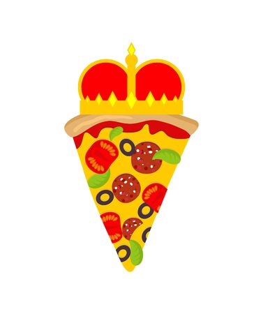 Royal pizza with crown sign. Vector illustration