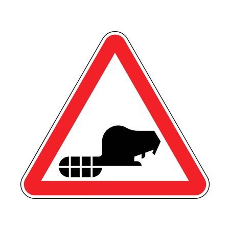 Attention Beaver. Warning red road sign. Caution River rodent