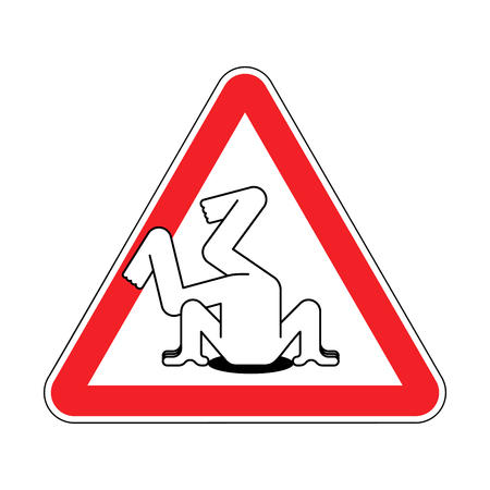 Attention head in sand. Warning red road sign. Caution Hiding from problems Çizim