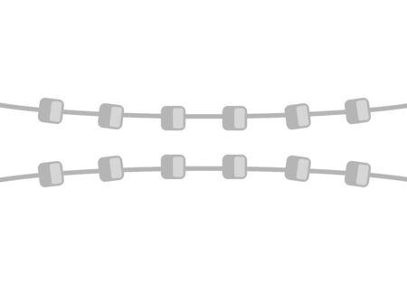 System Braces on teeth isolated. Vector Dental illustration Ilustração