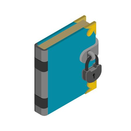 Book with lock. Secret knowledge. Vector illustration