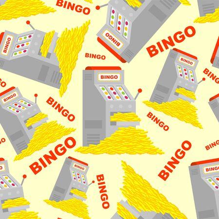 Slot machine and win pattern seamless. Bingo jackpot background. Many money