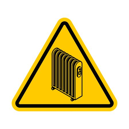 Attention Radiator heat . Warning yellow road sign. Caution Electric heating radiator