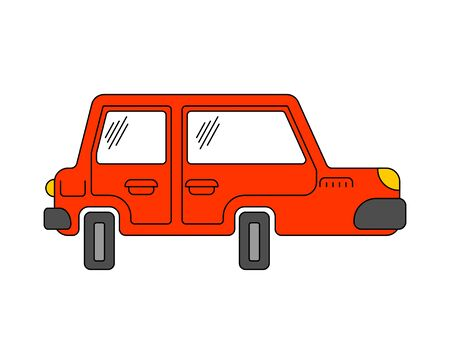 Cartoon car isolated. machine Childrens style. Vector illustration