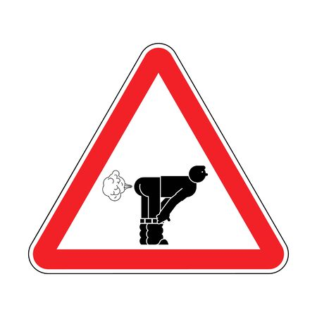 Attention Fart. Warning red road sign. Caution Farting