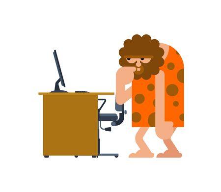Caveman and PC. Prehistoric man and computer. Ancient man think Vector Illustration
